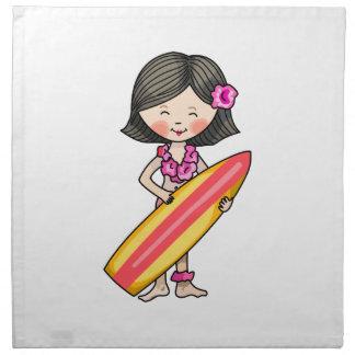 CHICA HAWAIANO DE LA PERSONA QUE PRACTICA SURF SERVILLETA DE PAPEL