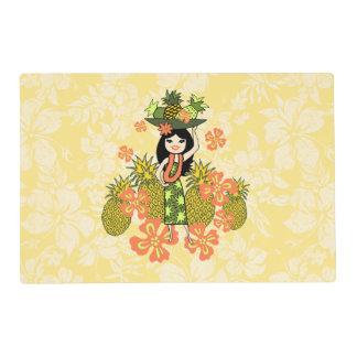 Chica hawaiano de Luau Hula de la piña Tapete Individual