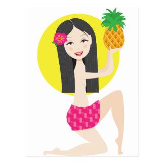Chica hawaiano postal