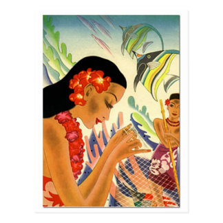 Chica hawaiano tarjeta postal