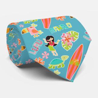 Chica Hawaii de Hulu Corbatas Personalizadas