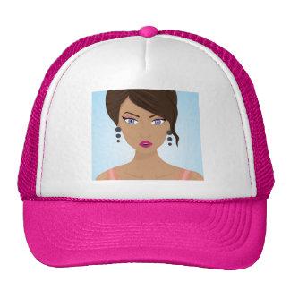 Chica hermoso con el sujetador rosado gorras de camionero