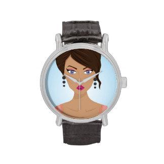 Chica hermoso con el sujetador rosado relojes de pulsera