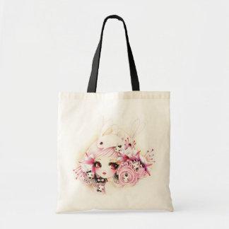 Chica hermoso con los conejitos lindos bolsa tela barata