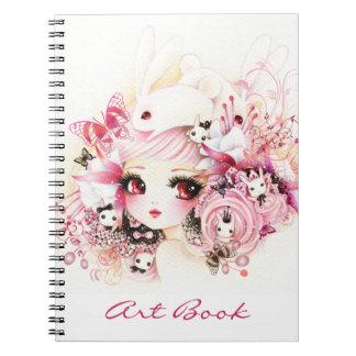 Chica hermoso con los conejitos lindos cuaderno