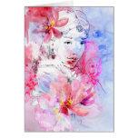 Chica hermoso con un ramo de flores tarjeta de felicitación