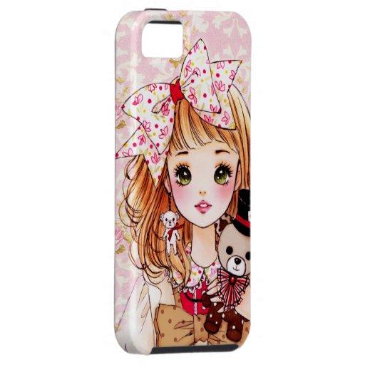 Chica hermoso de la muñeca con el oso de peluche iPhone 5 protectores