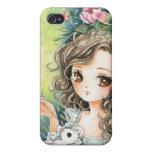 Chica hermoso del animado con la felpa y los peoni iPhone 4 fundas