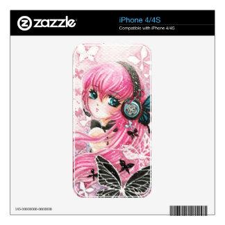 Chica hermoso del animado con las mariposas skins para eliPhone 4