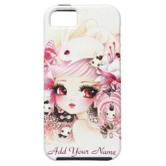 Chica hermoso del animado con los conejitos lindos iPhone 5 fundas