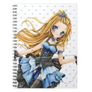 Chica hermoso del animado en vestido azul spiral notebooks
