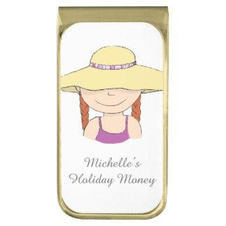 Chica hoiliday nombrado del dinero en clip del clip para billetes dorado