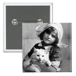 """""""Chica holandés con fotografía del vintage del gat Pin Cuadrada 5 Cm"""
