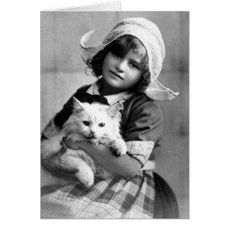 """""""Chica holandés con fotografía del vintage del gat Tarjeta De Felicitación"""