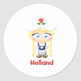 Chica holandés etiqueta redonda