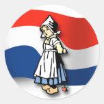 Chica holandés pegatina redonda