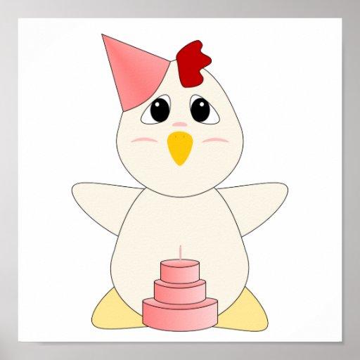 Chica Huggable del cumpleaños del pollo Poster