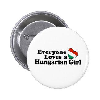 Chica húngaro pin redondo de 2 pulgadas