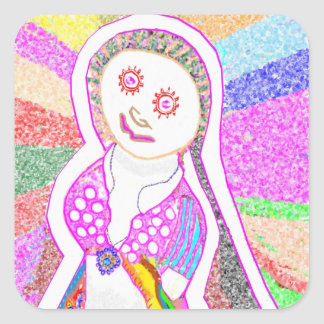 Chica ideal de SABRINA en rosa Pegatina Cuadradas Personalizada