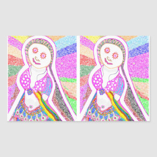 Chica ideal de SABRINA en rosa Rectangular Pegatina