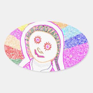 Chica ideal de SABRINA en rosa Pegatina Oval