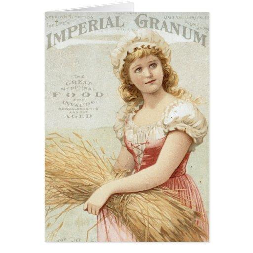 Chica imperial del vintage del trigo felicitacion
