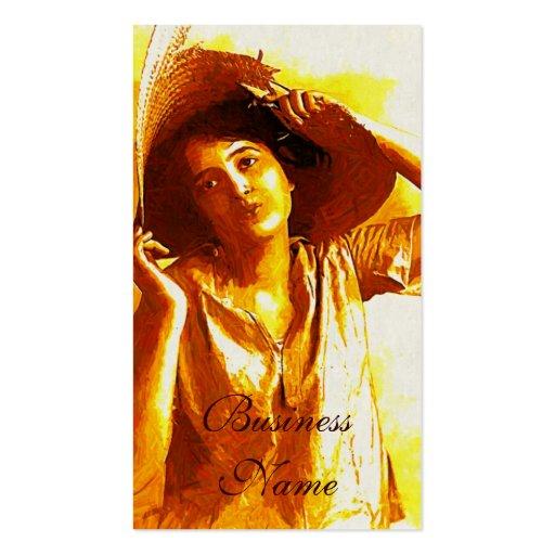 Chica impresionista con las tarjetas de visita del
