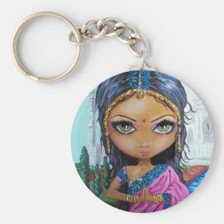 chica indio de la sari llavero redondo tipo pin