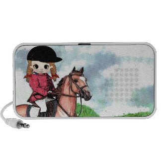 Chica inglés del montar a caballo laptop altavoz