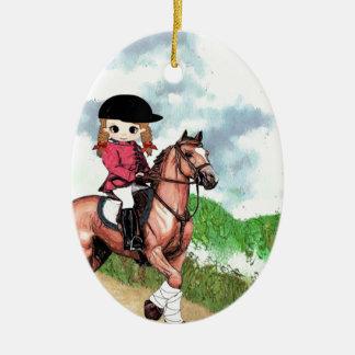 Chica inglés del montar a caballo adorno ovalado de cerámica