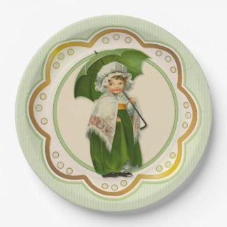 Chica irlandés del paraguas de Ould Irlanda Plato De Papel De 9 Pulgadas