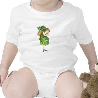 Chica irlandés lindo del trébol trajes de bebé