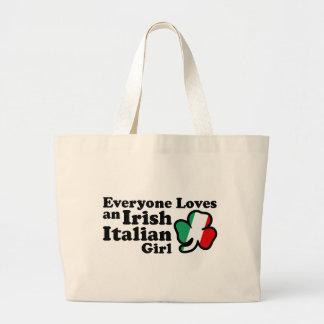 Chica italiano irlandés bolsa tela grande
