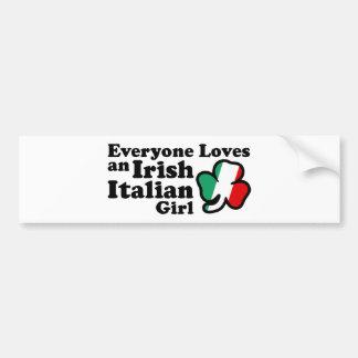 Chica italiano irlandés etiqueta de parachoque