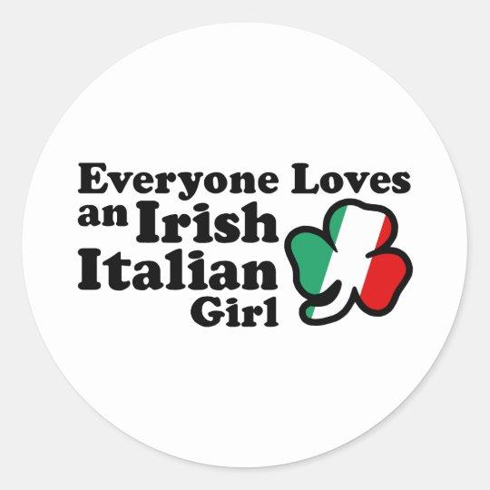 Chica italiano irlandés pegatina redonda