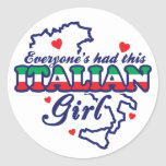 Chica italiano pegatinas redondas