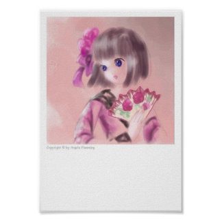 Chica japonés bonito con una fan posters