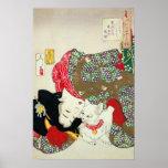 Chica japonés con el gato, Tsukioka Yoshitoshi Póster