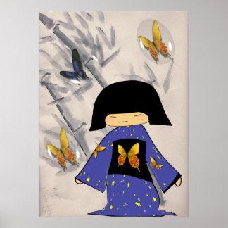 Chica japonés con las burbujas de la mariposa poster