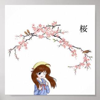 Chica japonés de la flor de cerezo póster