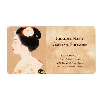 Chica japonés de Maiko en geisha de la mujer de la Etiquetas De Envío