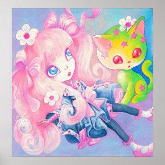 Chica japonés de Wamono con el gatito de Kawaii Impresiones