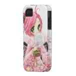 Chica japonés del animado hermoso en kimono Case-Mate iPhone 4 funda