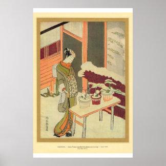 Chica japonés del arte asiático clásico con las pl posters