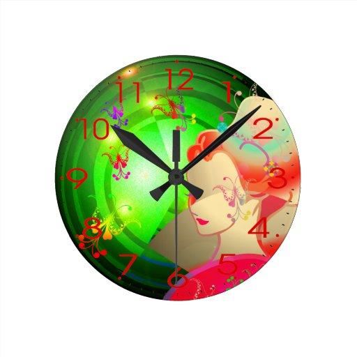 CHICA japonés del KIMONO del GEISHA Reloj Redondo Mediano
