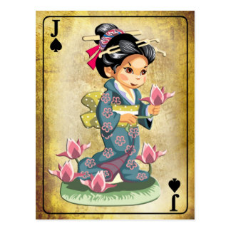 Chica japonés en flores de loto de la cosecha del postales