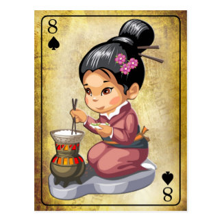 Chica japonés en kimono que cocina el arroz tarjeta postal