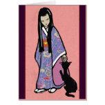 Chica japonés y su gato tarjeton