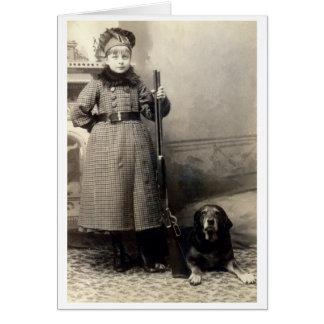 Chica joven 1900 y su perro tarjeta de felicitación