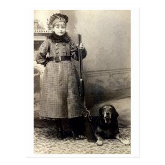 Chica joven 1900 y su perro tarjeta postal